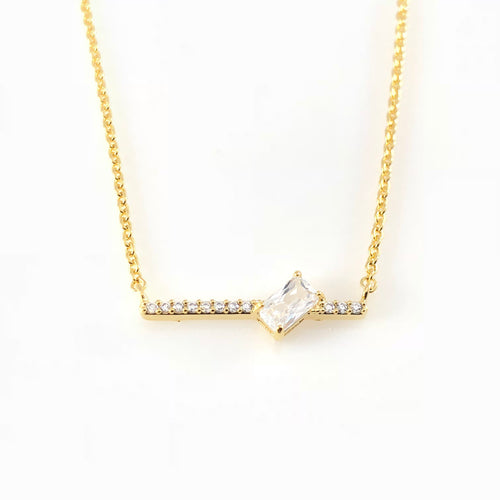 Cubic Bar Charm Necklace, Necklaces - www.thestoneflower.com