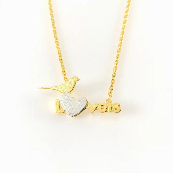 Love Bird Charm Necklace, Necklaces - www.thestoneflower.com
