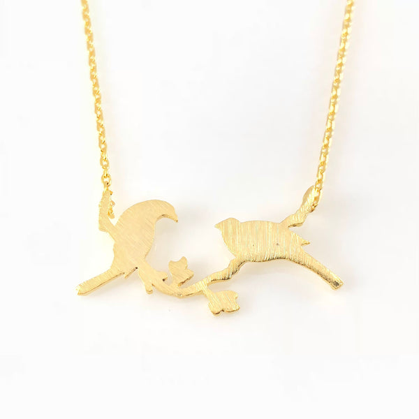 Flirting Birds Charm Necklace, Necklaces - www.thestoneflower.com