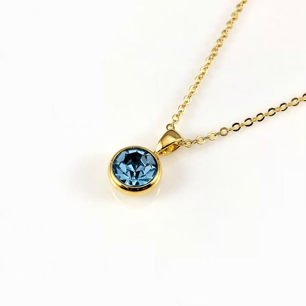 Aquamarine March Birthstone Necklace, Necklaces - www.thestoneflower.com