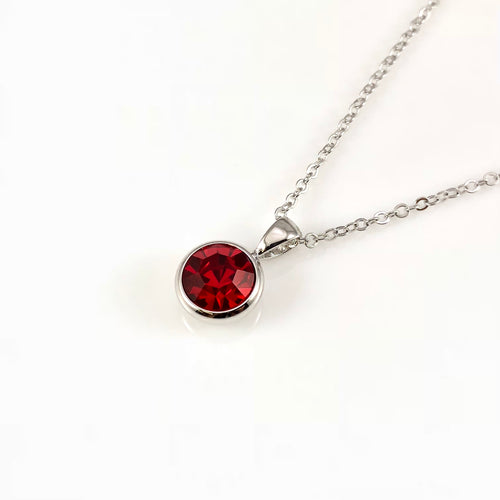 Ruby July Birthstone Necklace, Necklaces - www.thestoneflower.com