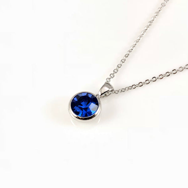 Sapphire September Birthstone Necklace, Necklaces - www.thestoneflower.com