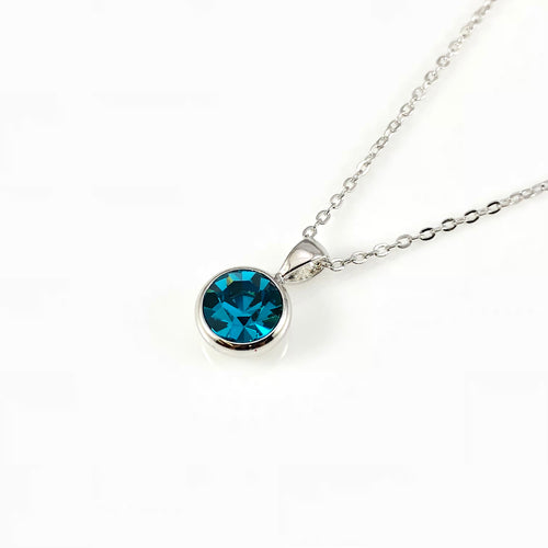 Blue Zircon December Birthstone Necklace, Necklaces - www.thestoneflower.com