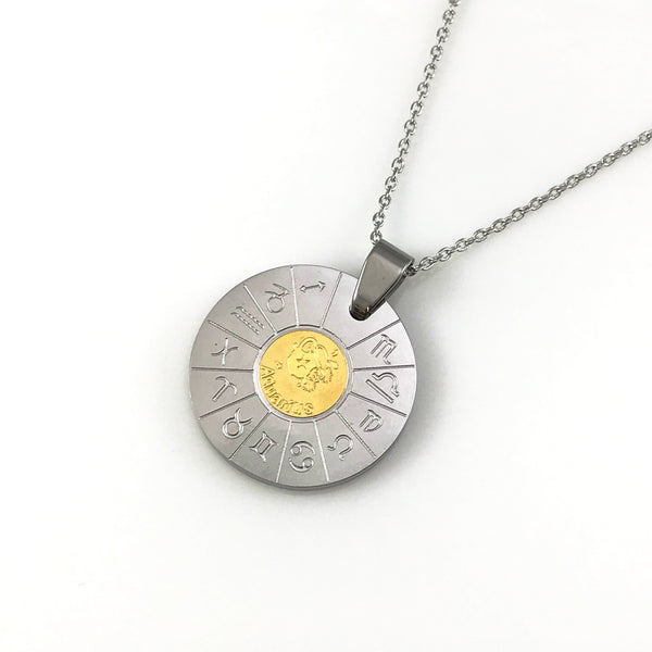 Aquarius Zodiac Pendant Necklace, Necklaces - www.thestoneflower.com