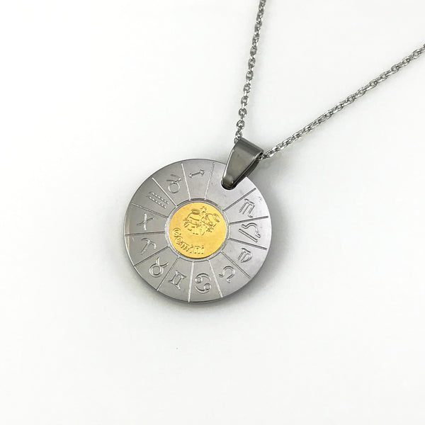Gemini Zodiac Pendant Necklace, Necklaces - www.thestoneflower.com