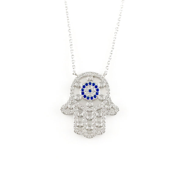 Large Hamsa Charm Necklace, Necklaces - www.thestoneflower.com