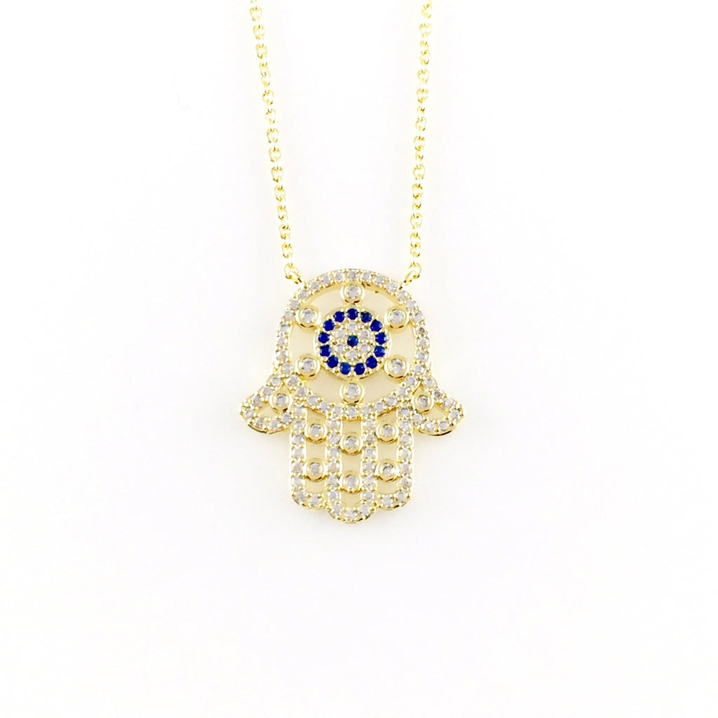 Large hamsa charm necklace stone flower large hamsa charm necklace mozeypictures Image collections