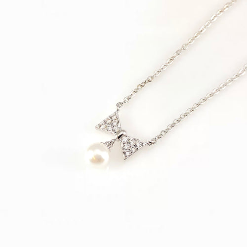 Crystal Bow Pendant Necklace, Necklaces - www.thestoneflower.com