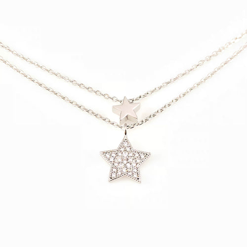 Stars Double-Layered Pendant Necklace, Necklaces - www.thestoneflower.com