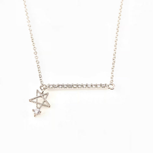 Star & Crystal Bar Pendant Necklace, Necklaces - www.thestoneflower.com