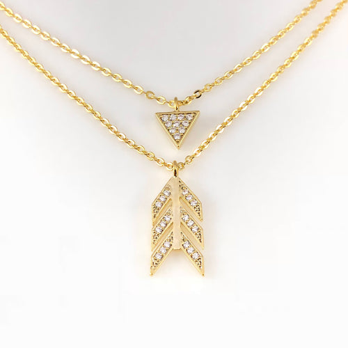 Arrow & Triangle Double-Layered Pendant Necklace, Necklaces - www.thestoneflower.com