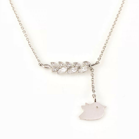 Silver Leafs Charm Necklace