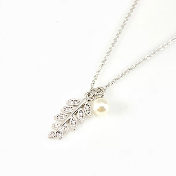 Crystal Leafs & Pearl Pendant Necklace, Necklaces - www.thestoneflower.com
