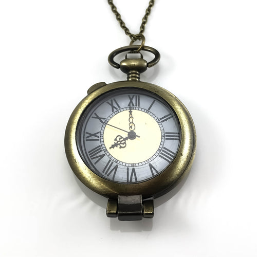 Classic White Face Pocket Watch Pendant Necklace, Necklaces - www.thestoneflower.com