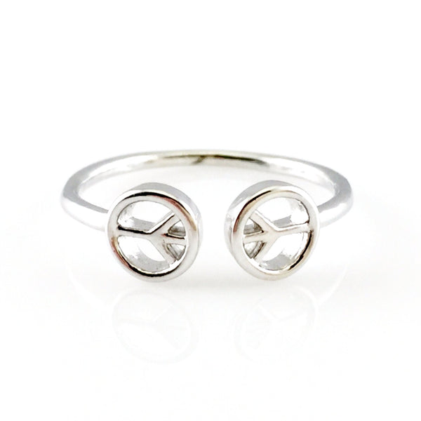 Peace Silver Open Ring, Rings - www.thestoneflower.com