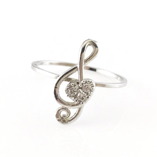 G-clef Silver Ring, Rings - www.thestoneflower.com