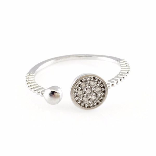 Crystal Round Silver Open Ring, Rings - www.thestoneflower.com