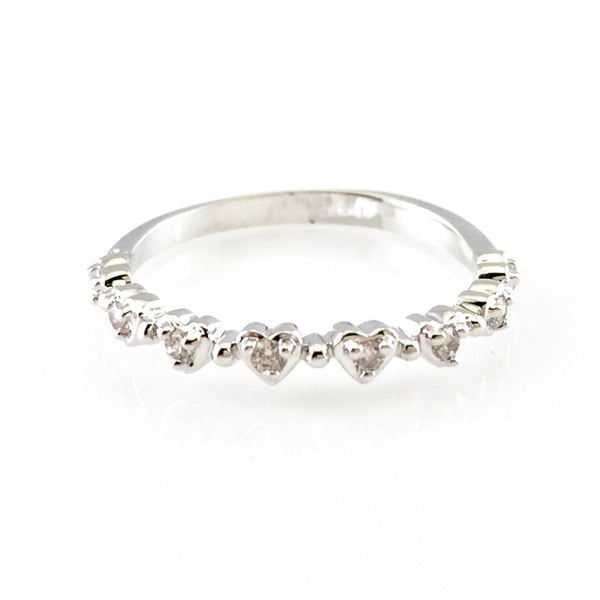 Tiny Crystal Hearts Ring, Rings - www.thestoneflower.com
