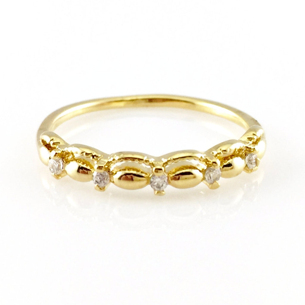 Simple Gold Ring – Stone Flower