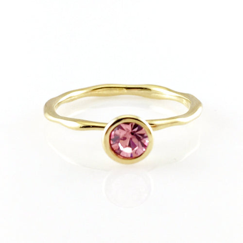 Pink Crystal Gold Ring, Rings - www.thestoneflower.com