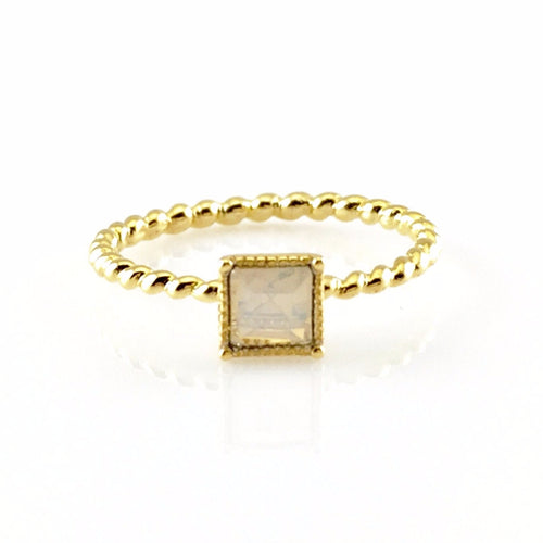 Square Crystal Gold Ring, Rings - www.thestoneflower.com