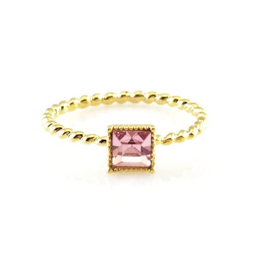 Pink Square Crystal Gold Ring, Rings - www.thestoneflower.com