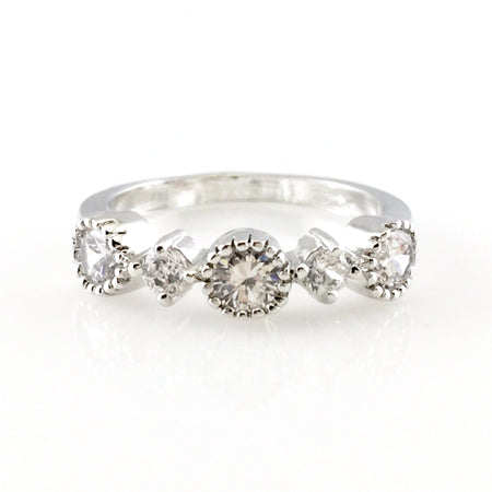 Crystal Round Silver Open Ring