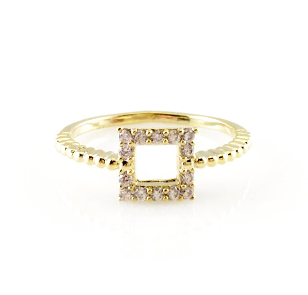 Open Square Crystal Ring, Rings - www.thestoneflower.com