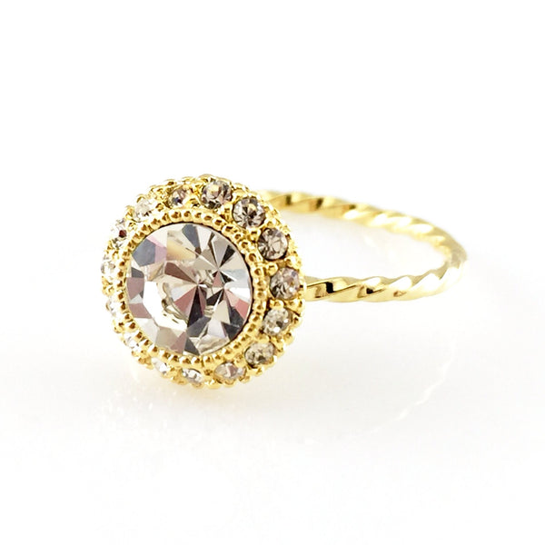 Beautiful Round Crystal Ring, Rings - www.thestoneflower.com