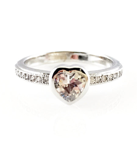 Crystal Pave Heart Open Ring