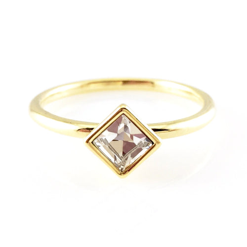 Diamond Shape Crystal Ring, Rings - www.thestoneflower.com