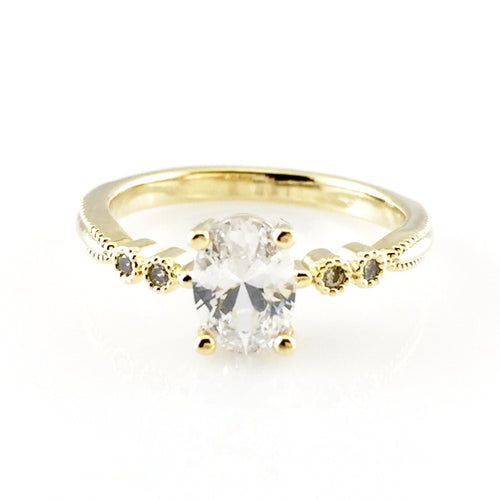 CZ Crystal Gold Ring, Rings - www.thestoneflower.com
