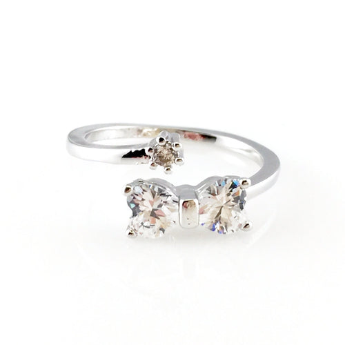Crystal Bow Open Ring, Rings - www.thestoneflower.com