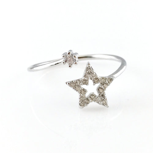 Stars Silver Open Ring, Rings - www.thestoneflower.com