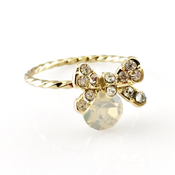 Crystal Bow Gold Ring, Rings - www.thestoneflower.com