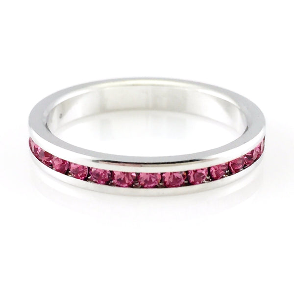 Pink Crystal Classic Silver Ring, Rings - www.thestoneflower.com