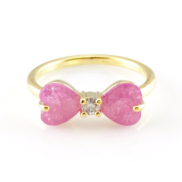 Pink Bow Crystal Gold Ring, Rings - www.thestoneflower.com