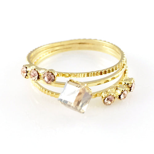 Crystals Gold Ring, Rings - www.thestoneflower.com