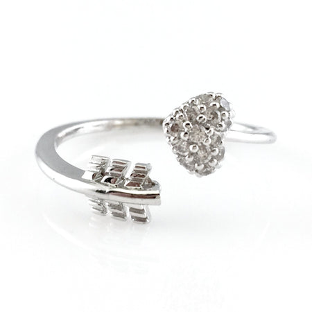 Crystal Bows Silver Ring