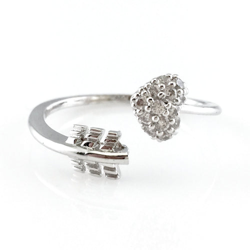 Crystal Pave Heart Open Ring, Rings - www.thestoneflower.com