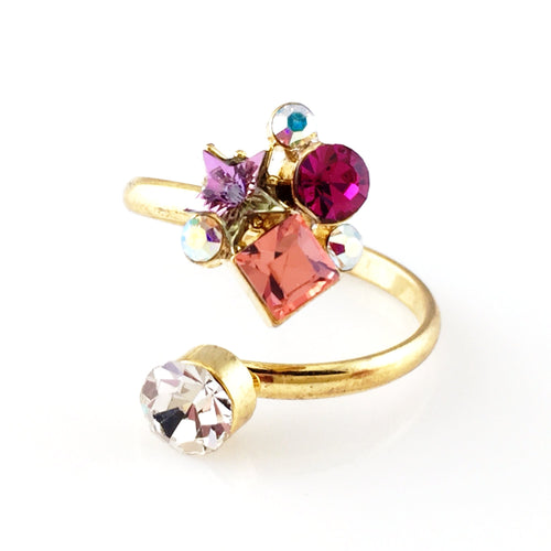 Colorful Crystals Open Ring, Rings - www.thestoneflower.com