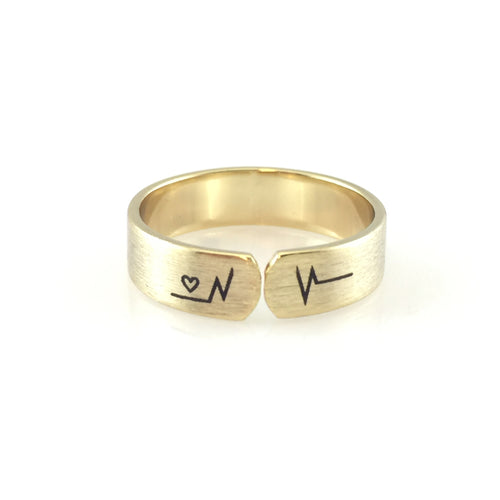 Modern Heartbeat Ring, Rings - www.thestoneflower.com