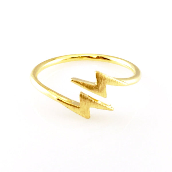 Gold Thunderbolt Open Ring, Rings - www.thestoneflower.com