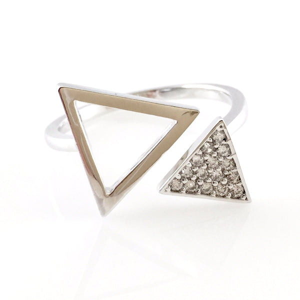 Triangles Crystal Pave Ring, Rings - www.thestoneflower.com