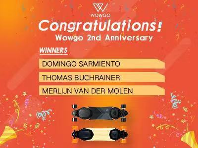 Congrats to the Winners of WowGo 3 Giveaway on the WowGo's 2nd Anniversary