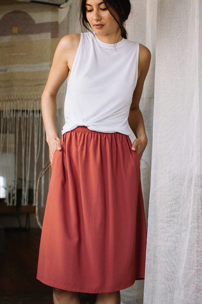 A-Line Skirt with Elastic Waistband