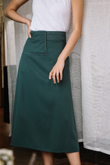 Tailored Skirt with Detachable Apron Belt
