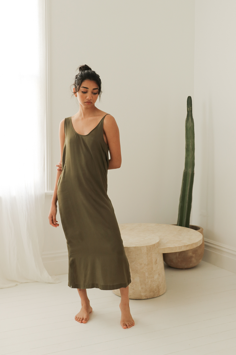 Maxi Dress with Asymmetrical Straps