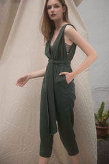 V-neck Panelled Jumpsuit