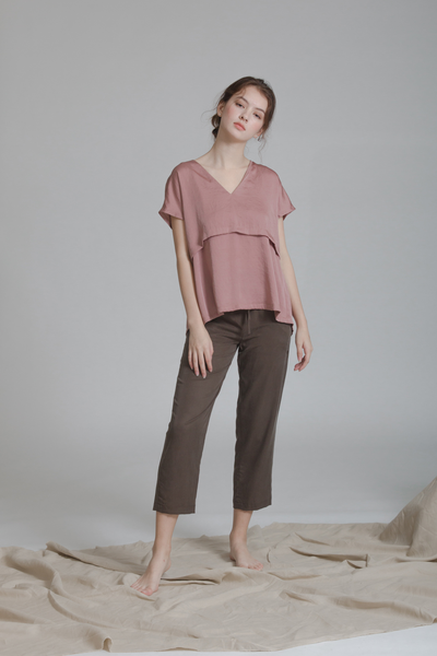 V-neck Double Layered Blouse
